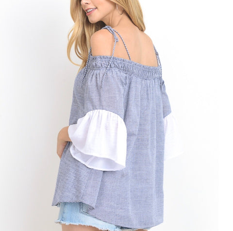 Super Soft Blue 3/4 Sleeve Top with Shoulder Ties and White Flutter Sleeves