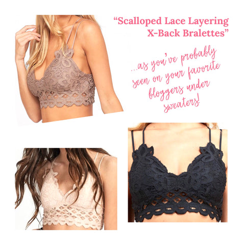 Scalloped Lace Layering X-Back Bralettes with Smocked Back