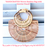 HAND CRAFTED Woven Bamboo Bag with Interior Pouch