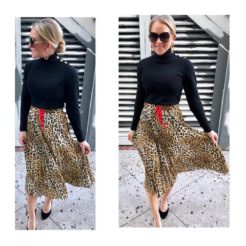 Leopard Print Accordion Pleat Midi Skirt with Red Contrast Drawstring Waist