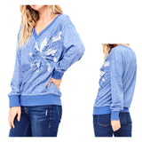 Blue Sweatshirt with Embroidered Flower Appliqué