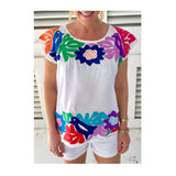 White Maya Split Embroidered Mexican Textile Top