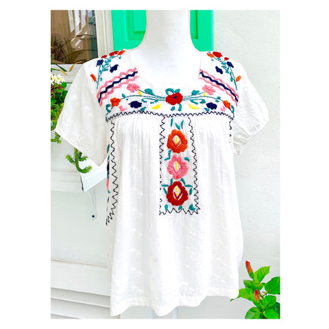 White Textured Cap Sleeve Floral Multicolor Embroidered Square Neck Top
