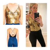 Gold Sequin Bodysuit with Adjustable Lace Up Back