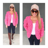 Pink Bubble Knit Open Front Handmade Cardigan