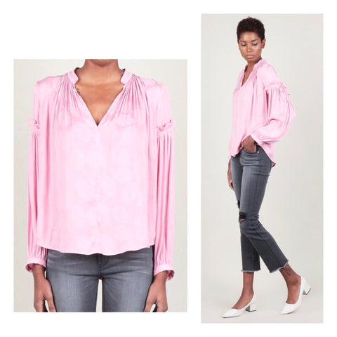 Pink Leaf Print V-Neck Blouse with Pleated Self Tie Sleeves