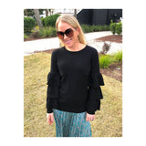 Black Fine Knit Sweater with Ribbed Tiered Ruffle Contrast &  Banded Waist