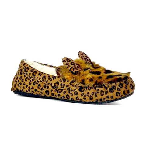 Leopard Faux Fur Slippers with Animal Ears & Faux Shearling Lining