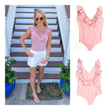 Blush Pink Ruffle U-Back Bodysuit