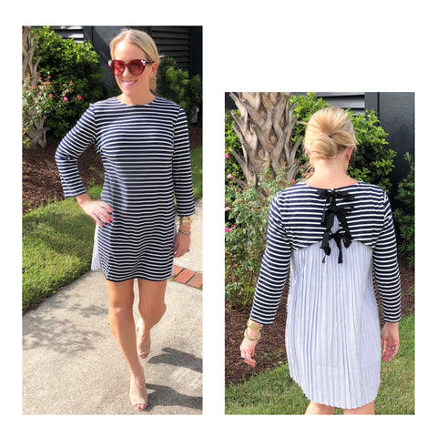 Midnight Blue & White Stripe Knit Dress with Contrast Pleated Back & Black Ribbon Tie
