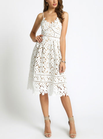 White Laser Cut Lace Spaghetti Strap Dress with Back Zip and Nude Underlay