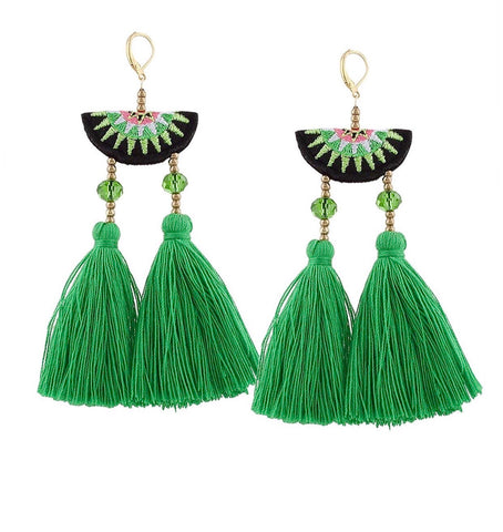 Green Pink Black Halfmoon Double Fan Tassel Earrings
