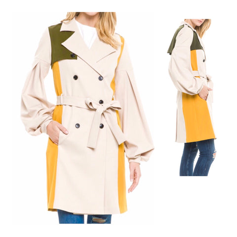 Light Camel Pleated Balloon Sleeve Double Breasted Trench Coat with Marigold & Olive Accents