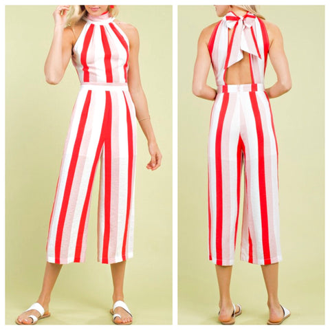 Red White Stripe Midi Halter Jumpsuit with Open Bow Back (just like the maxi but a jumpsuit)