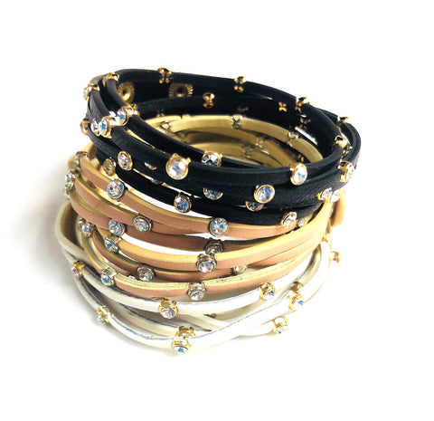 Rhinestone & Faux Leather Wrap Bracelets