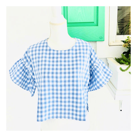 3abeb580076383 Blue & White Gingham Bell Sleeve Top with Keyhole Back