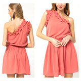 Coral One Shoulder Ruffle Trim Dress with Smocked Waist