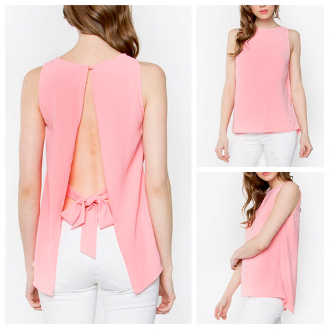 Peach Open Back Sleeveless Top with Bow Tie