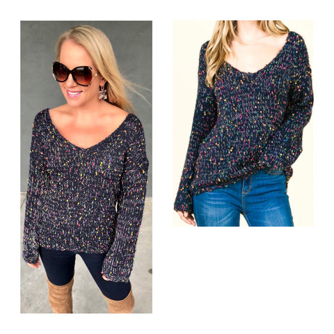 Navy V-Neck Confetti Sweater with Micro Embroidered Multicolor PomPoms