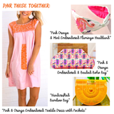 Pink & Orange Embroidered Textile Dress with Pockets