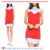 Tomato Red & Blue White Pinstripe Shirttail Contrast Sleeveless Dress