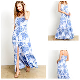 Blue White 'Chinoiserie' Maxi Dress with Self Tassel Tie Waist