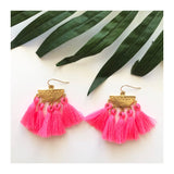 Brushed Gold & Pink or Turquoise Tassel Earrings