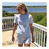 Blue White Stripe Scalloped Top (Shorts Sold Separately)