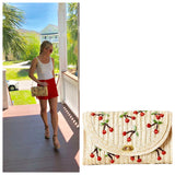 Straw Clutch or Purse with Cherry Embroidery & Gingham Interior