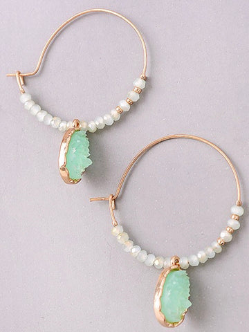 Jade Stone and Beaded Gold Hoops