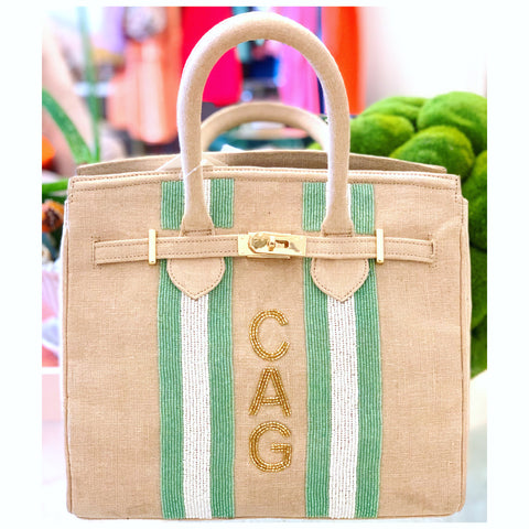 Handmade Beaded Aqua White Cabana Stripe Tiana Jute BIRKY Bag with Customization Option