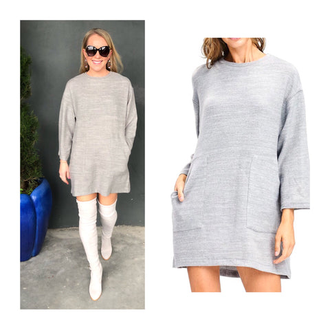 Grey Three Quarter Sleeve SOFT Brushed Knit Shift Dress with Front Pockets