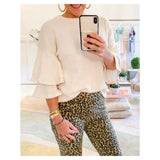 Ivory Camel & Black Leopard Print High Waisted Stretchy Skinny Pants with Exposed Side Zip