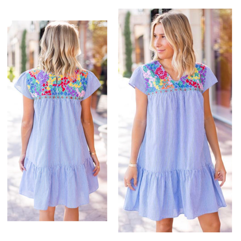 Blue White Stripe EMBROIDERED TEXTILE Flutter Sleeve Dress with Keyhole Back