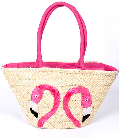Hot Pink Flamingo Embroidered Straw Beach Bag / Tote 🌴💕