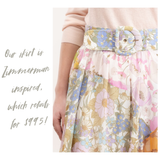 White Pink & Blue Floral Print Midi Skirt with Banded Waist