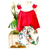 Red Pleated Accordion Sleeve Tiered Hem Cami with Ruched Ruffle Trim