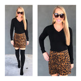 Leopard Corduroy Button Down Skirt