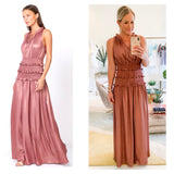 Shimmering Rose Smocked Waist Ruffle Trim Maxi Dress