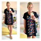 Black Embroidered Birds of Paradise Fringe Hem Short Sleeve Shift Dress