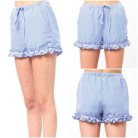 Blue White Gingham Shorts with Ruffle Hem & Drawstring Waist