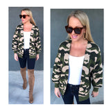 Taupe & Green Camo Knit Cardigan with Pockets & Banded Sleeves