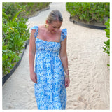 Blue & White Floral Print Smocked Bodice Flutter Sleeve Maxi Dress
