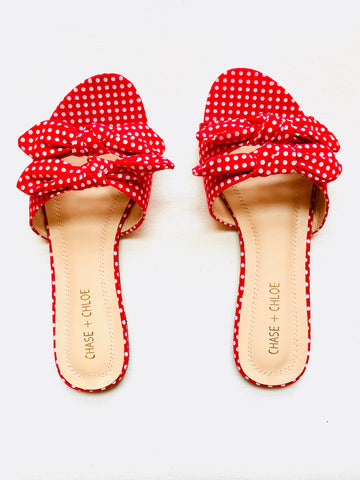 Red Double Bow Tie Polka Dot Slide Sandals