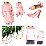 Blush Pink Shawl Collar Jacket with Belt