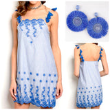 Blue Embroidered Scallop Hem Tassel Dress