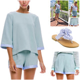 Jade Green Dolman Top with Blue Stripe Ribbon Trim (Matching Shorts Sold Separately)