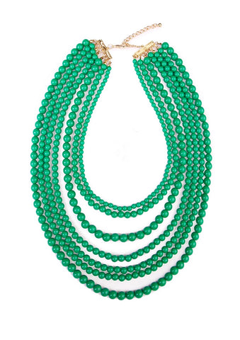 Emerald Green Multi Stand Beaded Necklace