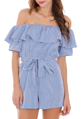 Blue Gingham Off the Shoulder Romper with Tie Waist