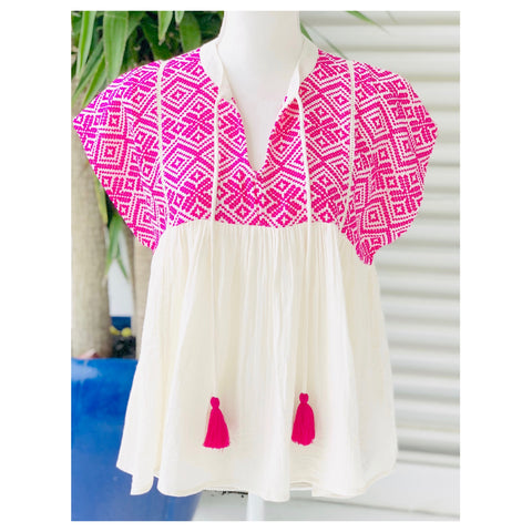 Ivory & Magenta EMBROIDERED Babydoll Top with Shirred Front & Optional Tassel Tie